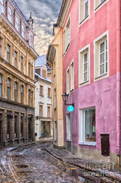 Narrow Street Painting - Riga Narrow Road Digital Painting by Antony McAulay