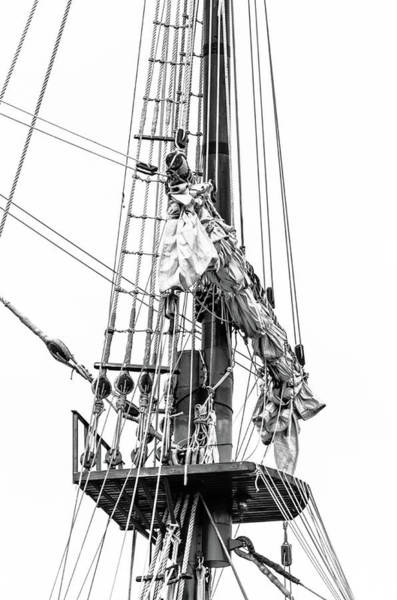 Photograph - Rigging And Masts Black And White by Stewart Helberg