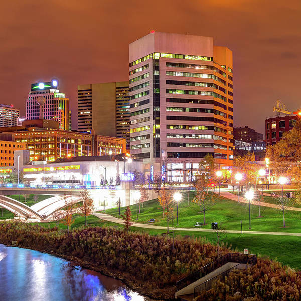 Photograph - Right Panel 3 Of 3 - Columbus Ohio Skyline At Night by Gregory Ballos