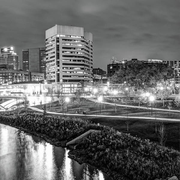 Photograph - Right Panel 3 Of 3 - Columbus Ohio Skyline At Night In Black And White by Gregory Ballos