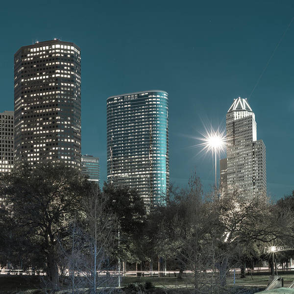 Photograph - Right Panel 3 Of 3 - Houston Texas Skyline Panorama At Night by Gregory Ballos