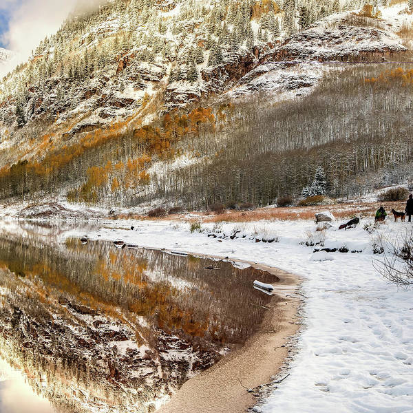 Photograph - Right Panel 3 Of 3 - Maroon Bells Mountain Landscape Panoramic - Aspen Colorado by Gregory Ballos