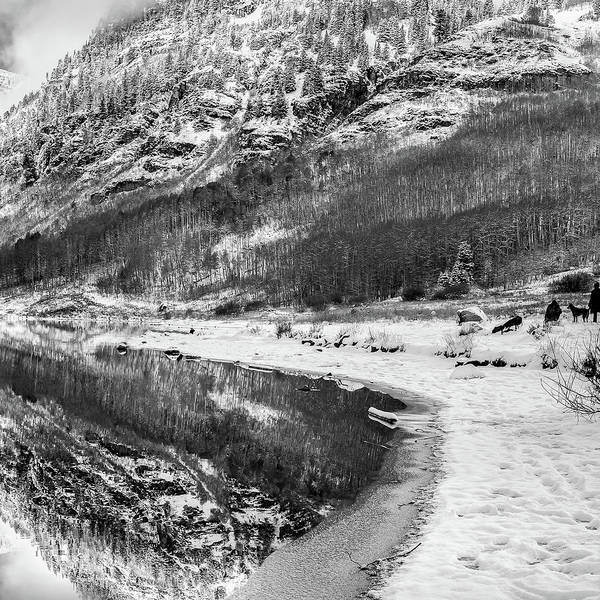 Photograph - Right Panel 3 Of 3 - Maroon Bells Mountain Landscape Panoramic Bw - Aspen Colorado by Gregory Ballos