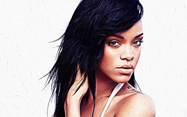 Rain Song Painting - Rihanna by Queso Espinosa