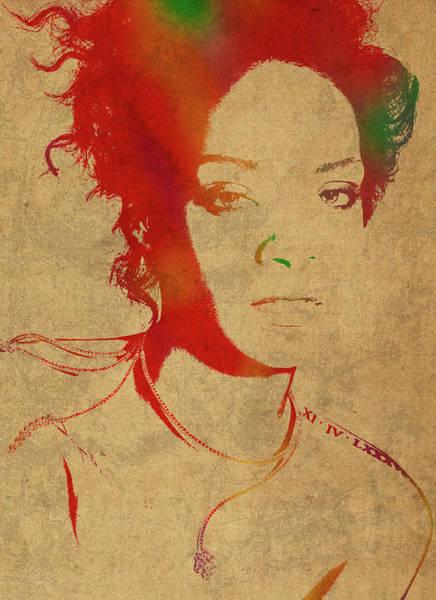 Watercolor Portrait Mixed Media - Rihanna Watercolor Portrait by Design Turnpike