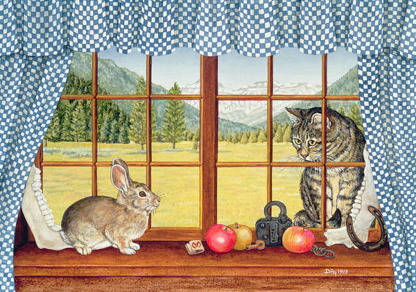 Painting - Rimrock Cottontail by Ditz