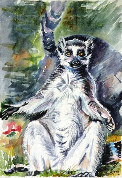 Ring-tailed Wall Art - Painting - Ring-tailed Lemur by Kovacs Anna Brigitta
