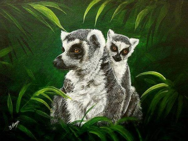 Ring-tailed Lemur Painting - Ring Tailed Lemurs by Sue Homer