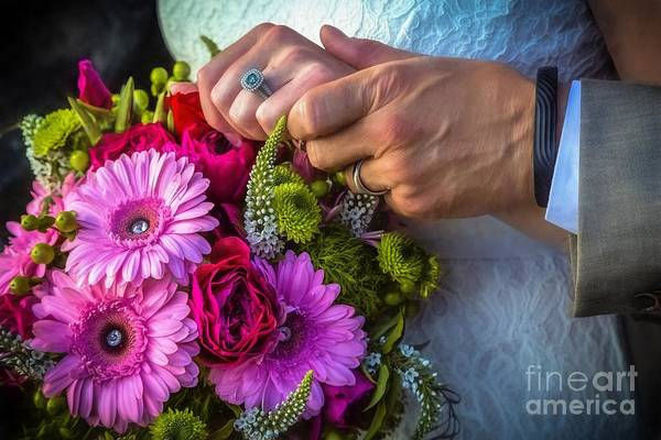 Photograph - Rings Hands And Flowers by Jon Burch Photography