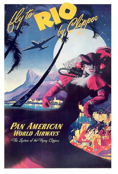 Brazil Painting - Rio, Brazil, Pan American Airways, Dancing Woman by Long Shot