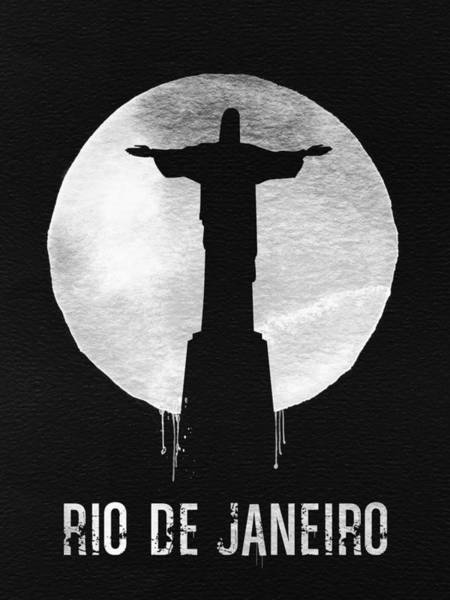 Latin America Wall Art - Painting - Rio De Janeiro Landmark Black by Naxart Studio