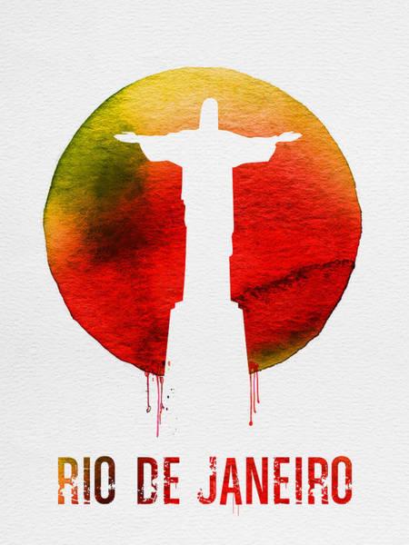 Latin America Wall Art - Painting - Rio De Janeiro Landmark Red by Naxart Studio