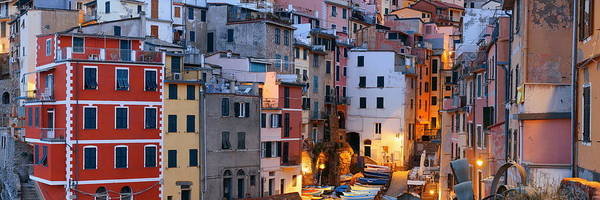 Photograph - Riomaggiore Buildings Panorama In Cinque Terre  by Songquan Deng