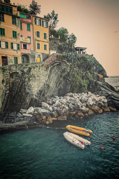 Photograph - Riomaggiore Cinque Terre Italy Morning Vintage by Joan Carroll