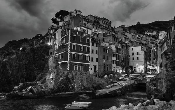 Photograph - Riomaggiore Night Bw by Joan Carroll