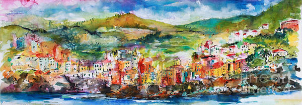 Painting - Riomaggiore Panorama Cinque Terre Italy by Ginette Callaway