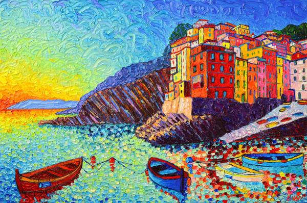 Italian Architecture Painting - Riomaggiore Sunset - Cinque Terre Italy - Palette Knife Oil Painting By Ana Maria Edulescu by Ana Maria Edulescu