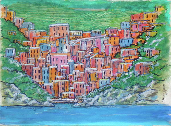 Painting - Riomagiorre My Favorite Village In Italy by Frank Hunter