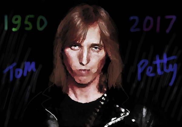 Classic Rock Mixed Media - Rip Tom Petty 1950 2017 by Enki Art