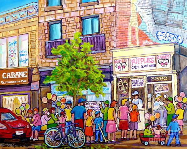 Painting - Ripples Ice Cream Shop Rue St Laurent Street Party Balloon Fun Montreal Art Carole Spandau by Carole Spandau