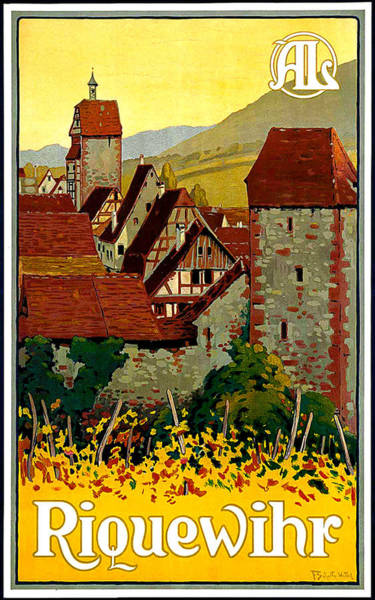 Alsace Wall Art - Painting - Riquewihr, Alsace, France, Travel Poster by Long Shot
