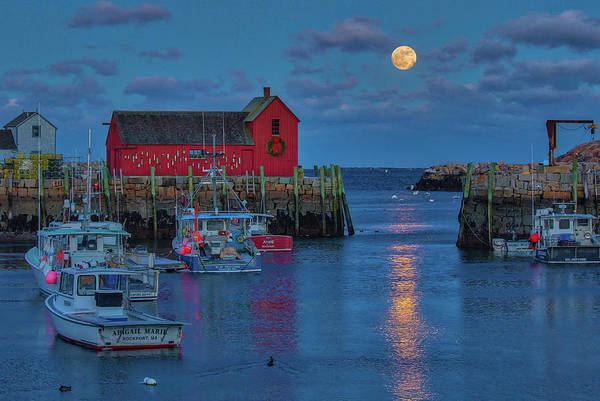 Photograph - Rising Full Moon Over Massachusetts Rockport Harbor Village by Juergen Roth