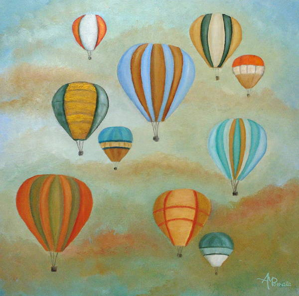 Air Balloon Wall Art - Painting - Rising High by Angeles M Pomata