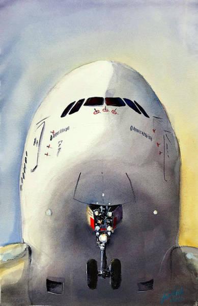 Airbus A380 Wall Art - Painting - Rising by James Nyika