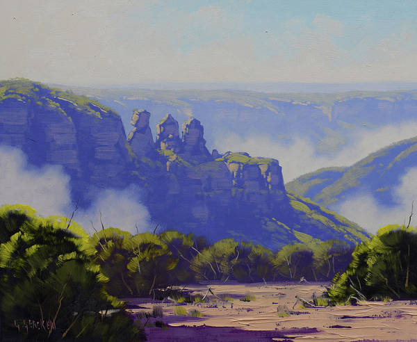Wall Art - Painting - Rising Mist Three Sisters Australia by Graham Gercken