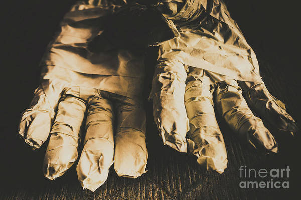 Nobody Photograph - Rising Mummy Hands In Bandage by Jorgo Photography - Wall Art Gallery
