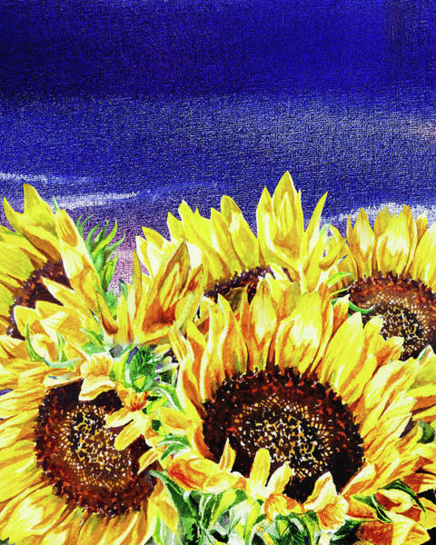 Wall Art - Painting - Rising Sun Sunflowers by Irina Sztukowski