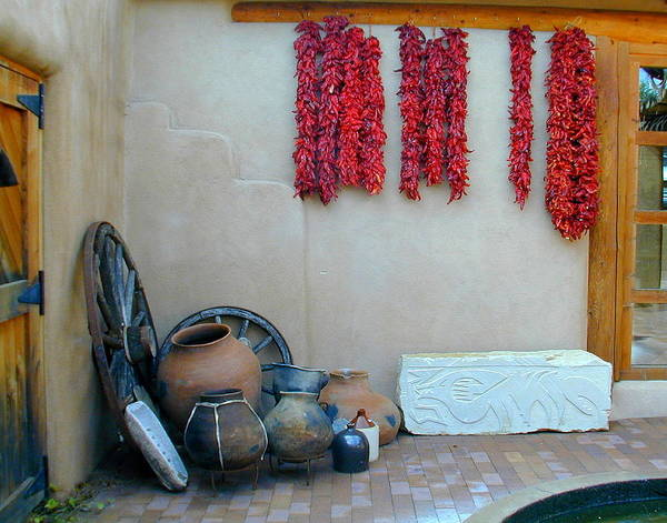 Photograph - Ristras And Pots by Joseph R Luciano
