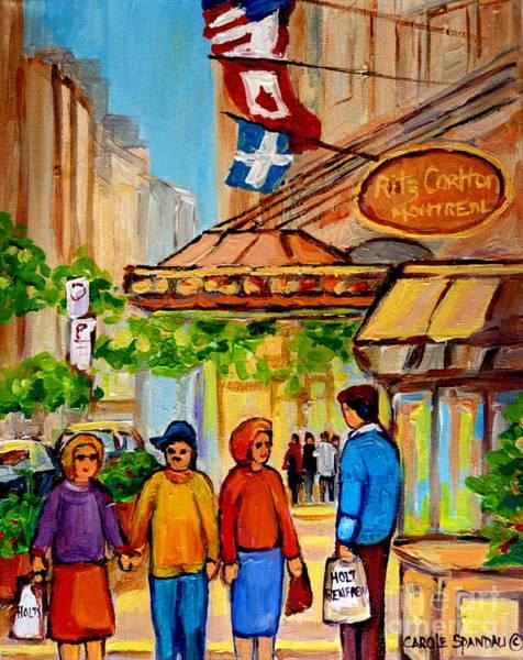 Quebec Flag Painting - Ritz Carlton Montreal Sherbrooke Street by Carole Spandau