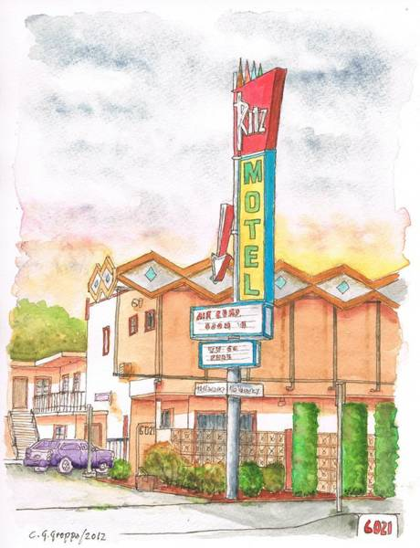 Googie Wall Art - Painting - Ritz Motel In North Hollywood - California by Carlos G Groppa