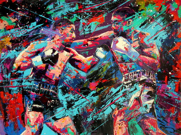 Big Fight Painting - Rivals- Large Work by Angie Wright