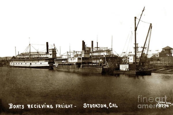 Photograph - River Boats Receiving Freight - Champion, J. D. Peters, Stockton  1910 by California Views Archives Mr Pat Hathaway Archives