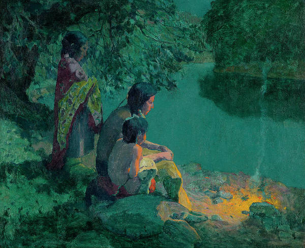 Pueblo Painting - River Camp - Moonlight by Eanger Irving Couse