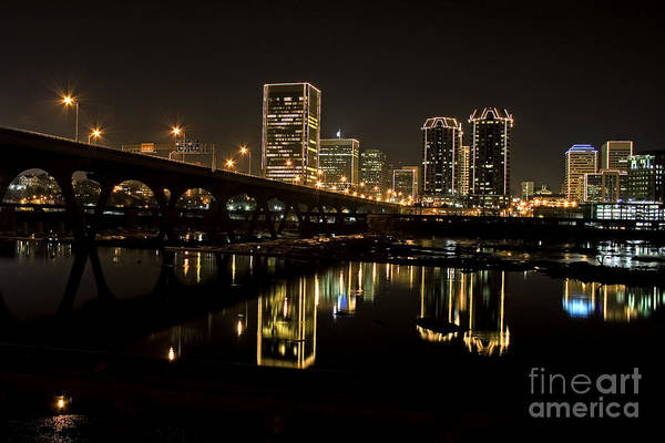 Richmond Virginia Wall Art - Photograph - River City Lights At Night by Tim Wilson