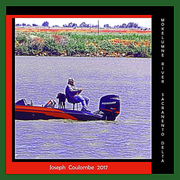 Digital Art - River Fish'n With A  Dog by Joseph Coulombe