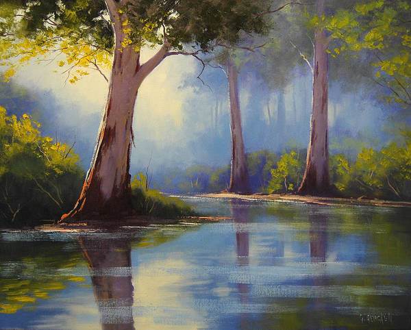 Old Tree Painting - River Gum Trees by Graham Gercken