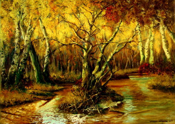 Umber Painting - River In The Forest by Henryk Gorecki