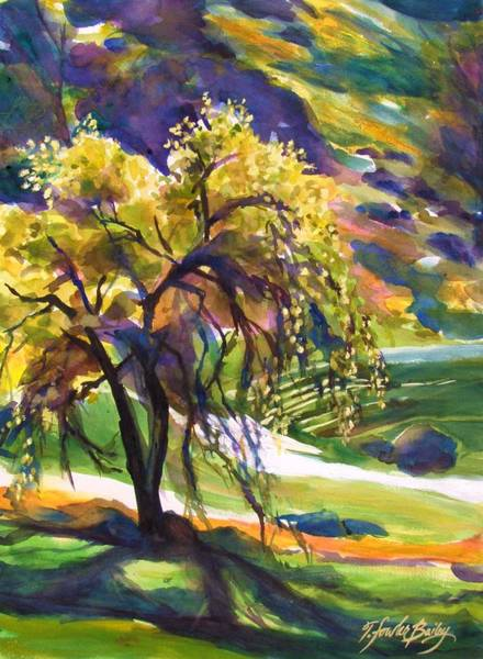 Lone Tree Painting - River Island Lone Oak by Therese Fowler-Bailey