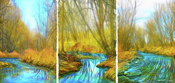 Digital Art - River Journey Vistas - Triptych by Joel Bruce Wallach
