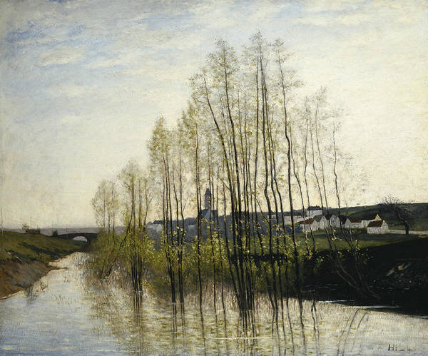 Champagne Painting - River Landscape, Champagne by Carl Fredrik Hill
