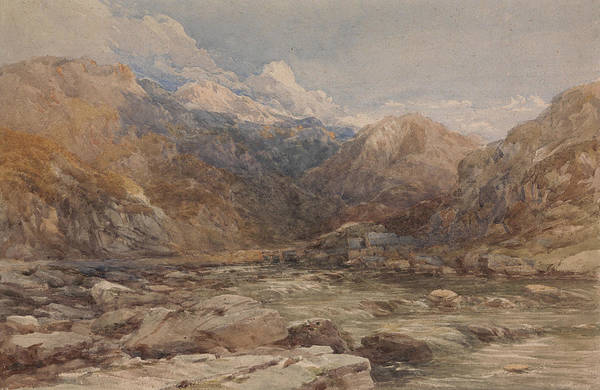 Drawing - River Landscape In Wales by David Cox