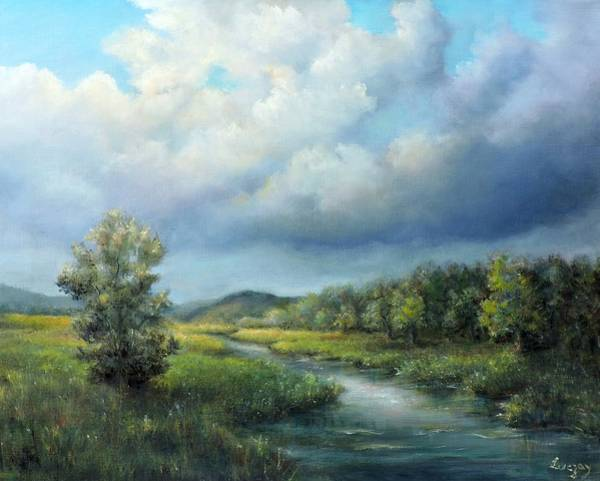 Painting - River Landscape Spring After The Rain by Katalin Luczay
