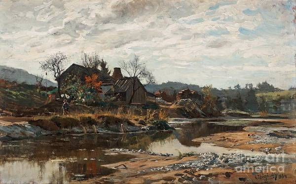 Tr Painting - River Landscape With A Boy By A House  by Celestial Images