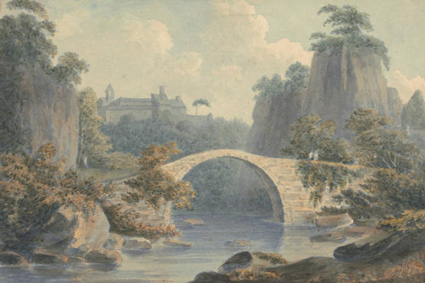 Single Drawing - River Landscape With A Single Arched Bridge by John Warwick Smith