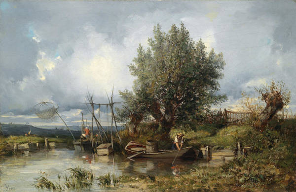 Angler Art Painting - River Landscape With Anglers by Camille Flers