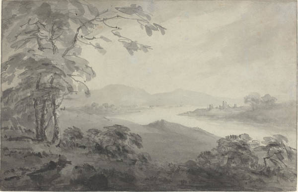 Wall Art - Drawing - River Landscape With Ruins by William Gilpin